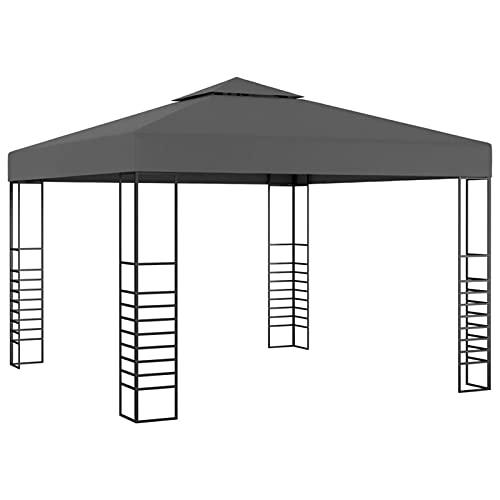 Tidyard Carpa Cenador con Doble Techo de Jardín Pabellón Impermeable Tienda Patio Exterior Playa Camping Bodas Barbacoa Gazebo Gris Antracita 3x3 m