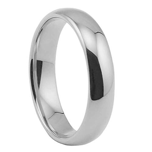 heDIANz Women Rings, Unisex Fine Polishing Dome Stainless Steel Finger Ring Banquet, Gift Silver 8