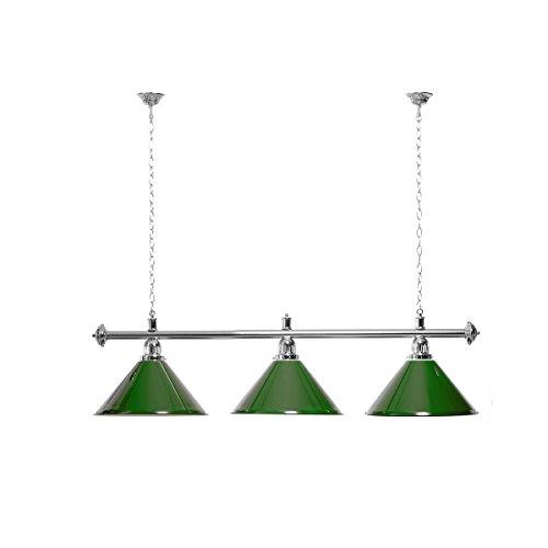Billardlampe 3 Schirme grün/silberfarbene Halterung