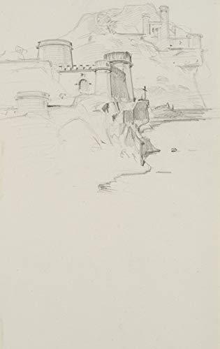 H. W. Fichter Kunsthandel: J.Lange(*1817), Kreuzfahrerburg auf einem Felsen, 19.Jhd, Bleistiftzeichnung