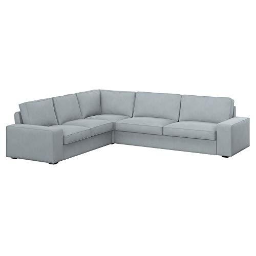 Soferia Bezug fur IKEA KIVIK 2+3/3+2 Ecksofa, Stoff Majestic Velvet Silver