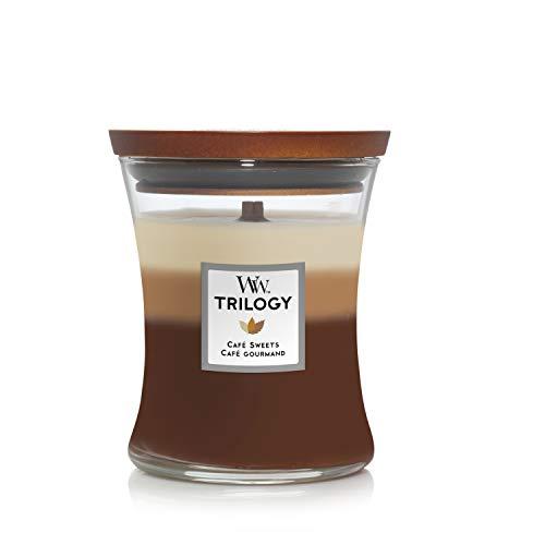 Woodwick Hourglass Trilogy Candela Profumata Media con Stoppino Scoppiettante, Dolci al caffè, Fino A 60 Ore, Cera, Multicolore (Cafe Sweets), 10.2 x 10.2 x 17.8 cm