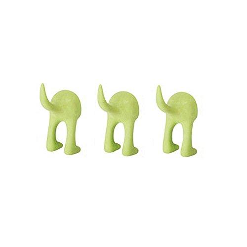 Ikea Haken-Set für Hüte, Mäntel, Schlüssel, Design: Hundeschwanz, Wandmontage, 3 Stück grün