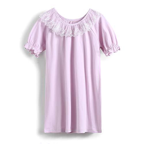 Nighties - Camicia da notte per ragazza, con colletto rotondo, in cotone, motivo: frutta e principessa, 3-12 anni Viola 7-8 Anni