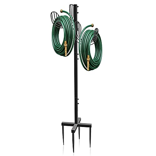 EVEAGE Upgraded Water Hose Holder Freestanding, Hose Stand Outdoor, Garden Hose Holder Stake For Outside Yard, Detachable Double-Sided Suspension Heavy Duty Thick Metal