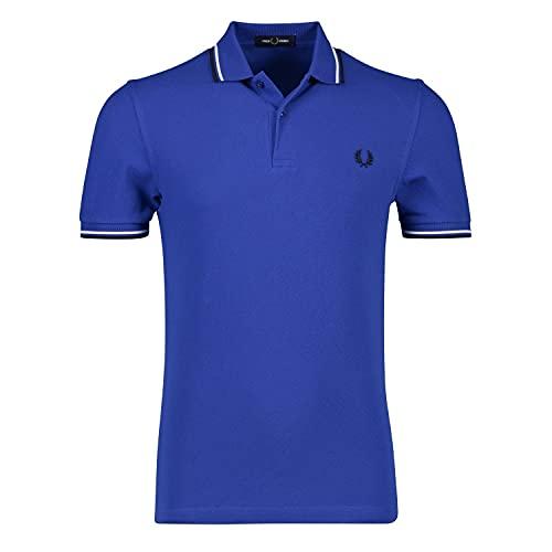 Fred Perry Twin Tripped Shirt Camisa de Tenis, Cobalt/Snow White/Black, S para Hombre