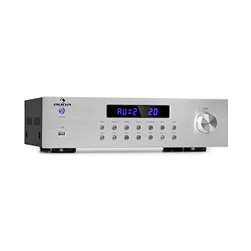 AUNA AV2-CD850BT - Amplificador estéreo hi-fi, 4 Zonas, 8 x 50 W de Potencia Media, Bluetooth, Puerto USB, 3 entradas de línea Distintas, LED, Mando a Distancia con Alcance de 30 m, Plateado