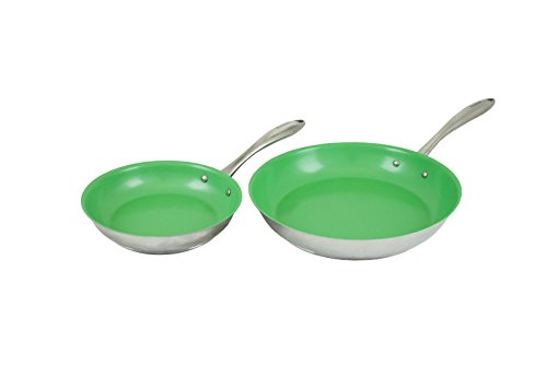 """Tuxton Home Concentrix Nonstick Color Frypans, 8""""/11"""", Cilantro Green"""