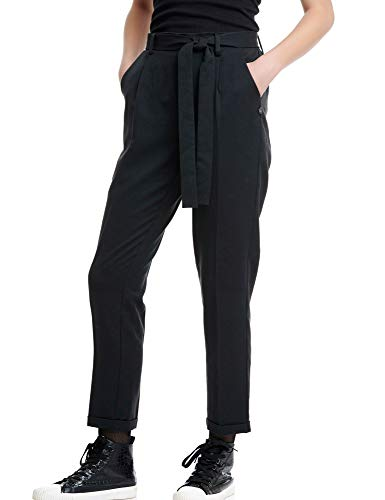 FUNKY BUDDHA Women's Peg-Leg Trousers with Belt Black in Size Large