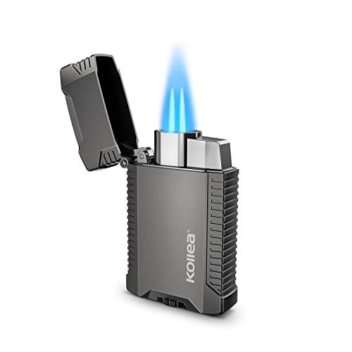 Kollea Torch Lighter, Double Jet Flame Torch Lighter, Mini Refillable and Windproof Butane Gas Lighter with Gift Box for Men (Butane Gas Not Included)