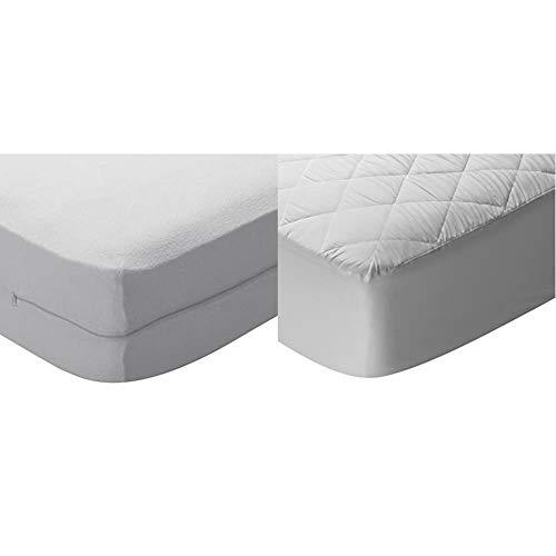 Pikolin Home - Funda de colchón Rizo algodón, bielástica, 180x200cm-Cama 180 + Home - Protector de colchón/Cubre colchón Acolchado, Impermeable, antiácaros, 180x200cm-Cama 180 (Todas Las Medidas)