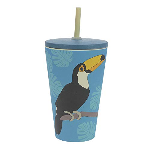 Vaso de bambú ebos Smoothie-to-Go | Vaso para beber con tapa y...