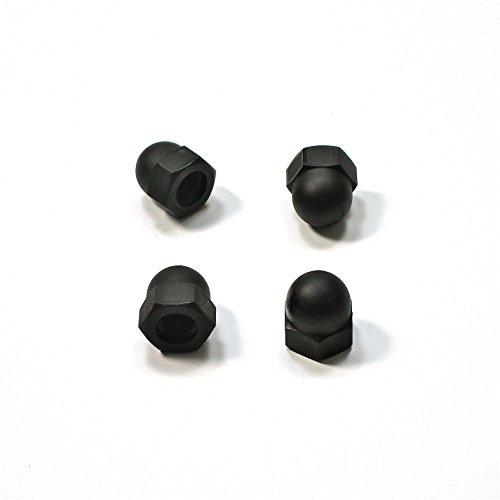 Ajile Kunststoff Hutmutter DIN1587 Schutz Mutter Isolierend aus Polyamid SCHWARZ mit 4 mm M4 Metrisches Innengewinde für 7 mm Schlüssel - 20 Stücke - UBO104x20-FBA