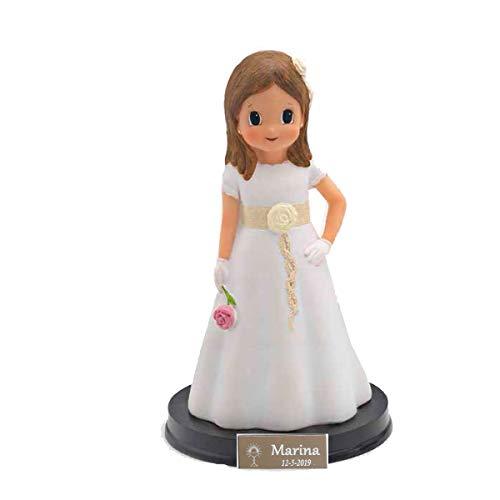 Figura comunión niña para tarta PERSONALIZADA grabada con nombre y fecha. Modelo fajin