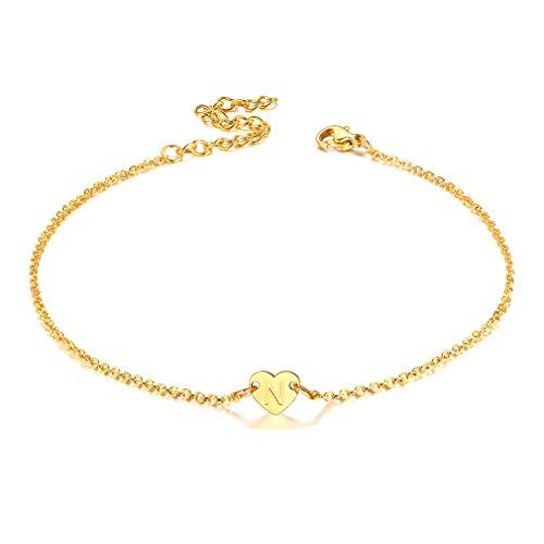 FaithHeart Edelstahl vergoldet Mädchen 22cm Fußband Buchstabe N Alphabet Damen Alphabet Fußband für Tochter Schwester