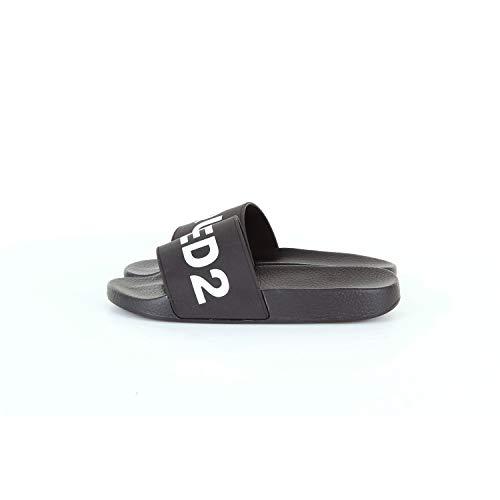 Dsquared2 Hombres Zapatillas Sandalias en Goma Nuevo d2 Slides Negro EU 41 FFM010117200001M063