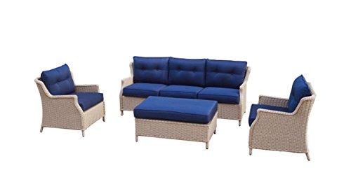 Büloo Polyrattan Gartenmöbel Lounge Set Sitzgruppe mit 2-Sitzer-Sofa oder 3-Sitzer-Sofa, Farbe in helles beige oder braun, aus Aluminium, fertig montiert (3-Sitzer-Sofa, braun/Weiss)