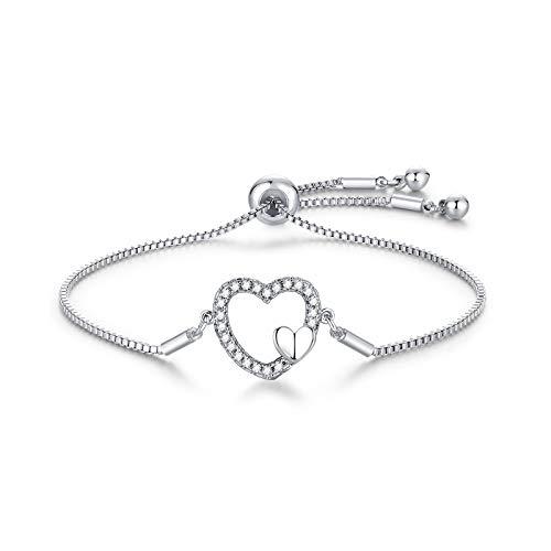 Pulsera de plata 925, con corazón de circonita, ajustable, 22 cm, joya de plata para mujeres y niñas