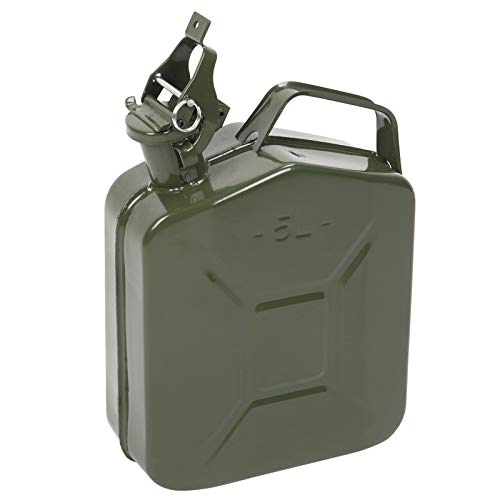 1.32 Gallons Fuel Can 5 Liter Gas Tank Metal Diesel Can with Flexible Spout Car Emergency Spare Fuel Storage Tank Army Green