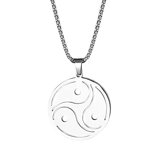 Viking Triskele Runa collar amuleto para niños y mujeres, acero inoxidable plata nórdico triple espiral triskelion runic colgante cadena de trigo – Vikingos nórdicos Taliman símbolo