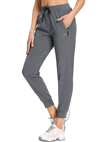 MOCOLY Women's Cargo Hiking Pants Elastic Waist Quick Dry Outdoor Lightweight Water Resistant Casual Long Pants UPF 50+ Grey L