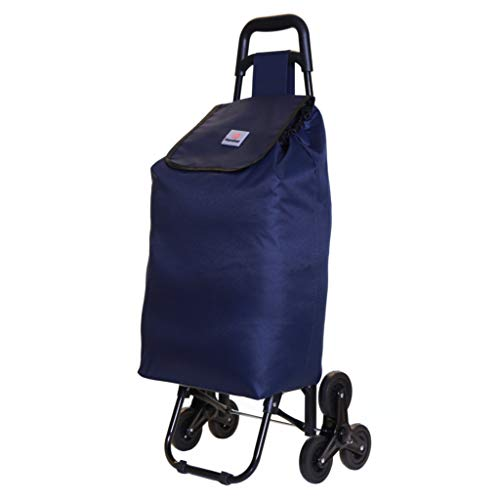 Karabar Moss Large 6-Wheels Stairs Climbing Shopping Trolley with Foldable Frame, 95 cm 1.5 kg 42 litres, Navy