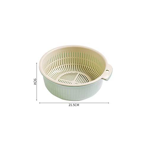 2pcs / set PVC dubbelglas keuken afvoer kom mand Plantaardige wasmand Opbergmanden Home Storage Accseeories for Fruit (Color : Green M)