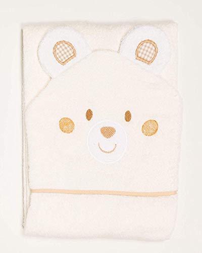 Ti TIN Baby Bademantel mit Kapuze aus 100% Baumwolle, weiche und saugfähige Kapuze im Bären Design beige, 100x100 cm (Frottee-Stoff)