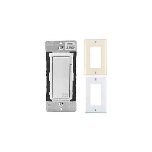 Leviton Decora Smart Wi-Fi 600W Universal LED/Incandescent Light Dimmer with Almond and White Wallplates Bundle (3 Items)