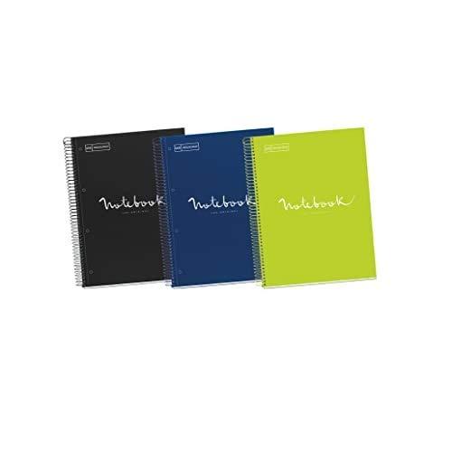 Miquelrius - Pack 3 Cuadernos A4, Cuadriculados Emotions, Espiral Microperforado, Cubierta de Cartón Forrado, Tamaño 210 x 297 mm, 4 Taladros, 80 Hojas de 90 g, Cuadrícula de 5 x5 m, Intensos