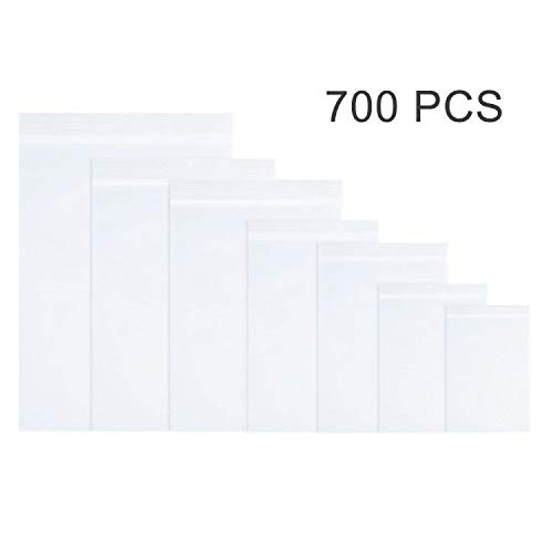 700 Pcs 2 MIL Thick Resealable Zipper Poly Bags,use for Jewelry, Pills,Toys,Nuts, Button,Clips and Other Small Bulk Parts.1.5x2.3, 1.9x2.7, 2.3x3.5, 2.7x3.9, 3.1x4.7, 3.5x5.1, 3.9x5.9 in