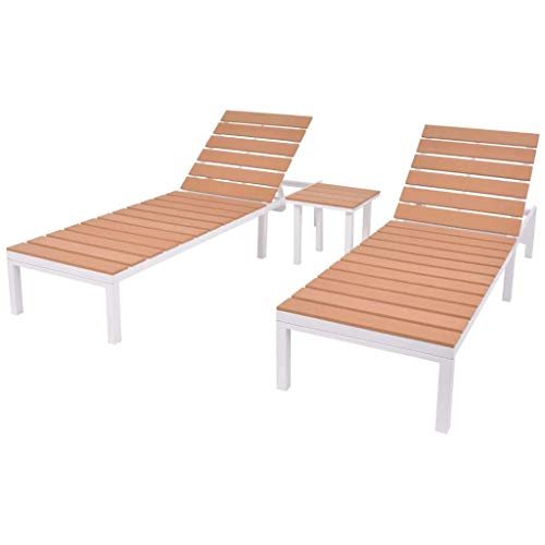 vidaXL Sonnenliegen 2 STK. mit Tisch Gartenliege Liegestuhl Gartenmöbel Liege Saunaliege Strandliege Relaxliege Aluminium WPC Weiß Braun