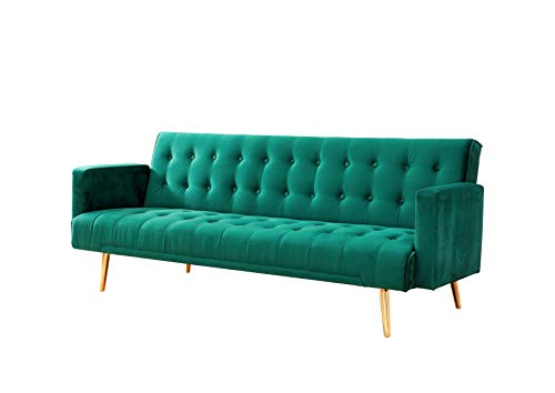 Velvet Three Seater Sofa Bed in Grey Pink Blue or Green with Contrast Golden or Rose Gold Finish Legs (Green with Golden Legs)