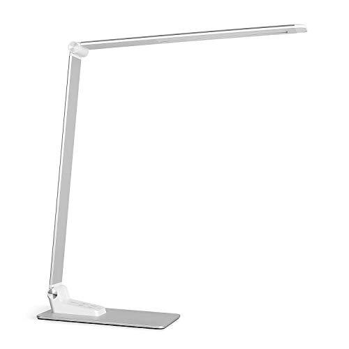 Deckey Lámpara de escritorio metal LED 12W Lámpara de mesa 5 colores y 6 niveles de brillo, Función de memoria regulable Puerto USB,Cuidado Ojos,Operación Tácti, Plegable,Ultradelgado,Blanco