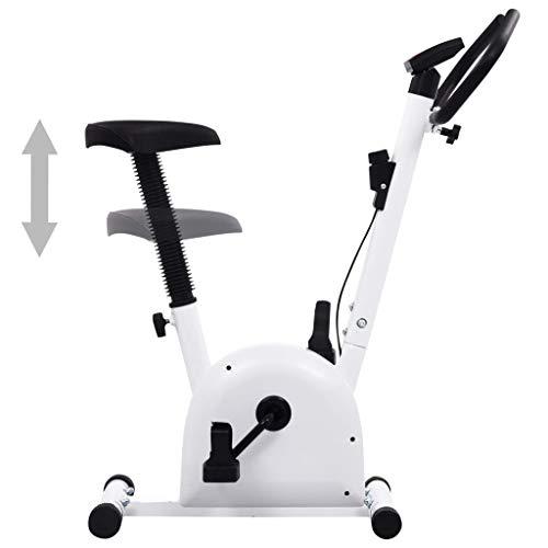 Bicicleta estática elíptica con correa de resistencia, volante de inercia de 2 kg, pantalla LCD y un sillín ajustable, pedales antideslizantes con correas, 90 x 38 x 103 cm, color negro y blanco