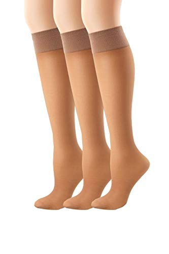 Hanes Women`s Set of 3 Alive Full Support Sheer Knee Highs(2 Pair) 1SIZE, Barely There