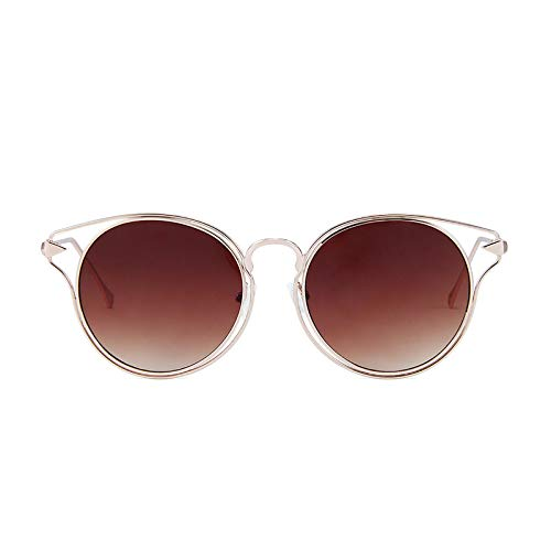 ZLUCKHY Gafas De Sol De Aviador Polarizadas,Gafas De Sol De Metal para Mujer con Marco Retro UV400,Marrón
