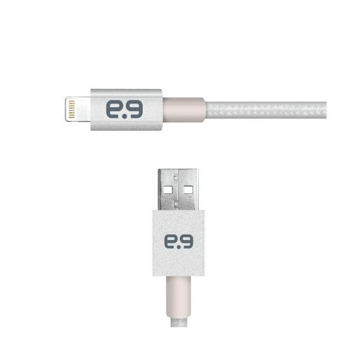PureGear Braided Metallic Charge-Sync Cable for Apple Lightning devices - Silver 48'