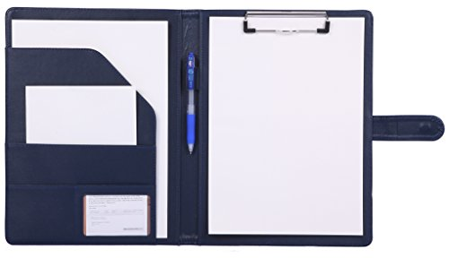 Padfolio Clipboard Folder Portfolio, Mymazn Faux Leather Folder Storage Clipboard with Cover for 8.5 x 11 Legal Pad A4 Refillable Folio Conference Writing Notepad (Blue)