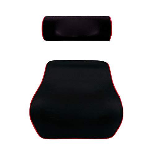 SHKY Travel Easy Car Lordosenstütze Rückenkissen & Kopfstütze Nackenkissen für Sitzkissen Memory Foam für Autositz mit Rückenschmerzen Relief (Schwarz),3