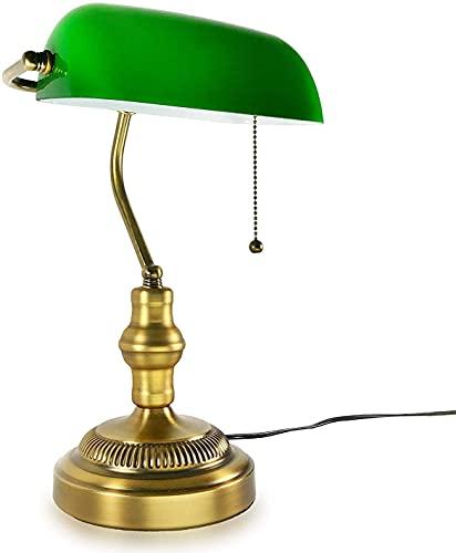 BoMiVa Lámpara de Mesa Lámpara de banquero tradicional, base de latón, pantalla de vidrio verde esmeralda hecha a mano, lámpara de escritorio vintage, oficina de estilo antiguo, biblioteca, sala de es