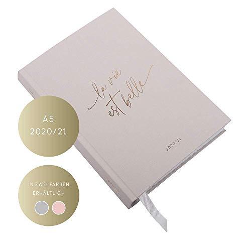 JO & JUDY Kalender A5 2020/2021 - Wochenplaner mit Softcover und Goldfolienprägung - Grau