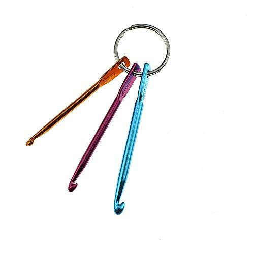Un-brand Juego de 3 herramientas de ganchillo de aluminio mezclado para tejer agujas de tejer hilados para hacer punto de ganchillo cómodo y ambientalmente