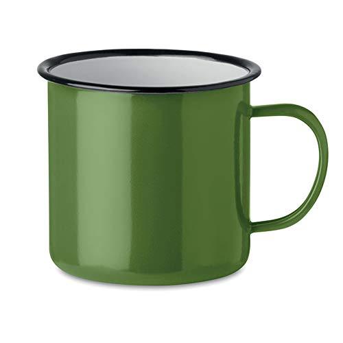 noTrash2003 Kaffeetasse Becher Mug Coffee Trinkbecher Emaille-Becher Vintage Look je 350 ml versch. Farben und Mengen (Grün, Einzeln)