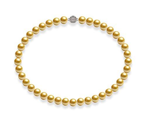 Schmuckwilly Muschelkernperlen Perlenkette Perlen Collier - Muschelkernperlenkette Halskette gold Hochwertige Magnetverschluß Modeschmuck 45cm dmk1013-45 (10mm)