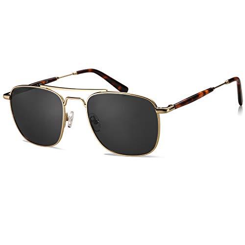 Carfia Gafas de sol Hombre Polarizadas Marco Cuadrado Protección UV400 para Conducir