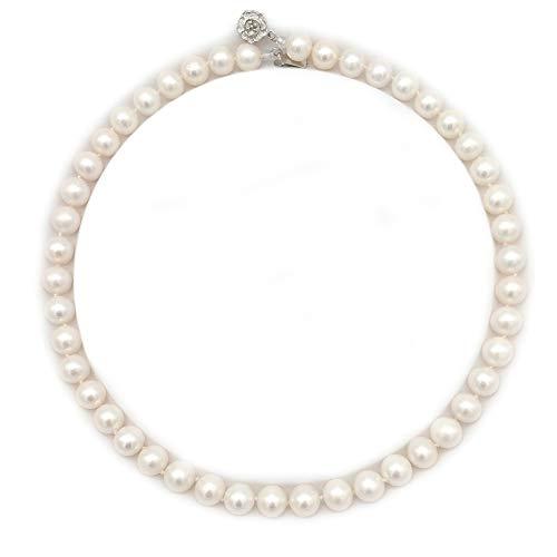 regalo del día de la madre,ELAINZ HEART AAAA collares de perlas genuinas de lujo para las mujeres, 44cm 9-10 mm de agua dulce granos redondos culta más fino de brillo bianco