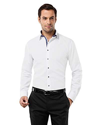 Vincenzo Boretti Herren-Hemd bügelfrei 100% Baumwolle Slim-fit tailliert Uni-Farben - Männer lang-arm Hemden für Anzug Krawatte Business Hochzeit Freizeit weiß/dunkelblau 39/40