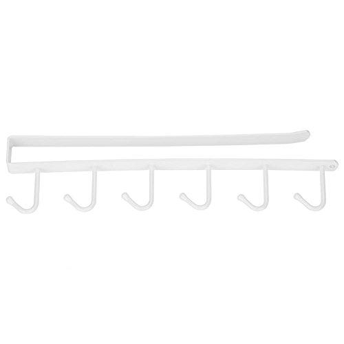 Yosooo Iron Multifunctional Storage Rack with Hooks, Kitchen Mug Hooks Hanger Organizer Kitchen Cupboard Hanging Hook Shelf Without Drilling(White)