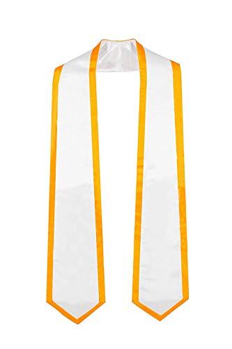 GraduationMall Plain Graduation Honor Stole Classic End White With Gold Trim Unisex Adult 72' Long